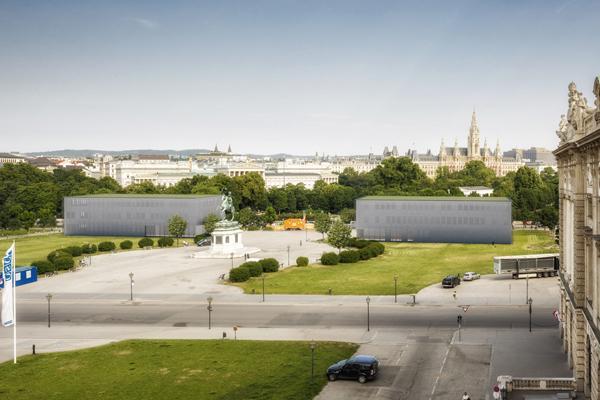 Rendering Ausweichquartier des Österreichischen Parlaments am Wiener Heldenplatz